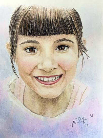 Pencil portait of a young girl
