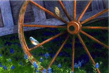 buntings on wagon wheel